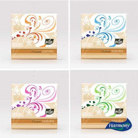 MAYA FLOWER 50 darab 1 rétegű hajtogatott szalvéta, virágmintás, 4 féle színben, 32 x 32 cm