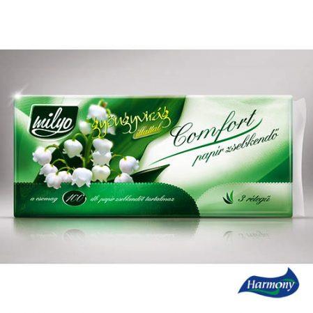 MILYO GYÖNYGVIRÁG papír zsebkendő 100 darab-csomag, 3 rétegű, illatos