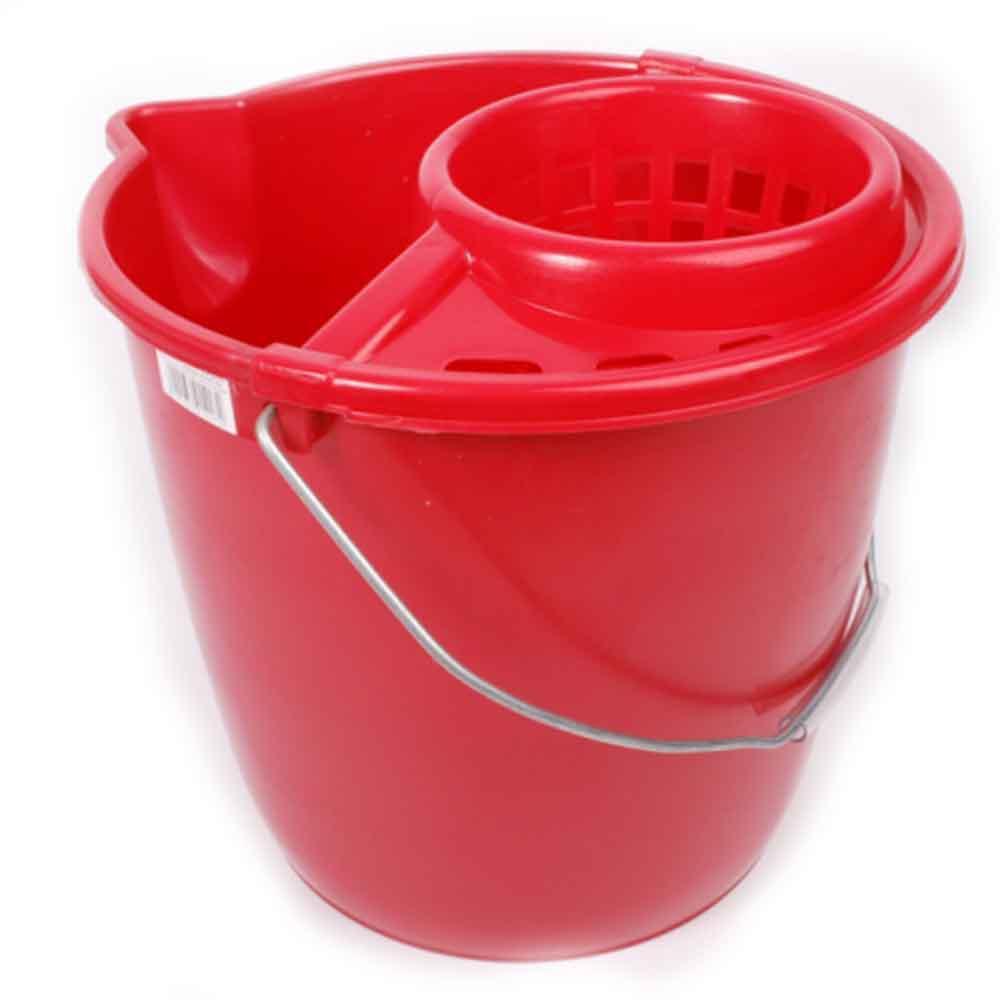 Felmosó vödör csavarókosárral 12 liter-piros