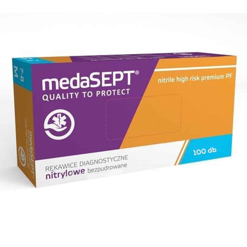 MEDASEPT HIGH RISK PREMIUM egyszer használatos kesztyű 100 db-os
