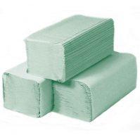 Z vagy V hajtogatott papír kéztörlő 1 rétegű zöld (újrahasznosított)