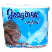 Graziosa Comfort Toalett WC papír 4 tekercses 3 rétegű